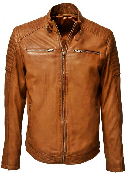 Herren Lederjacke Gunn in washed Cognac