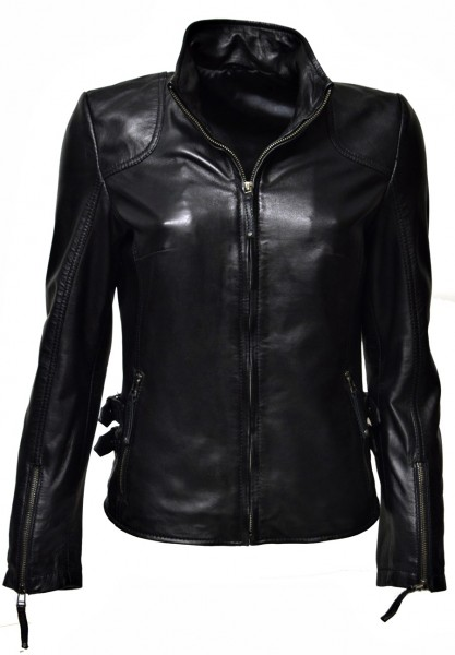 "Damen Lederjacke ""Alice"" in washed Schwarz"