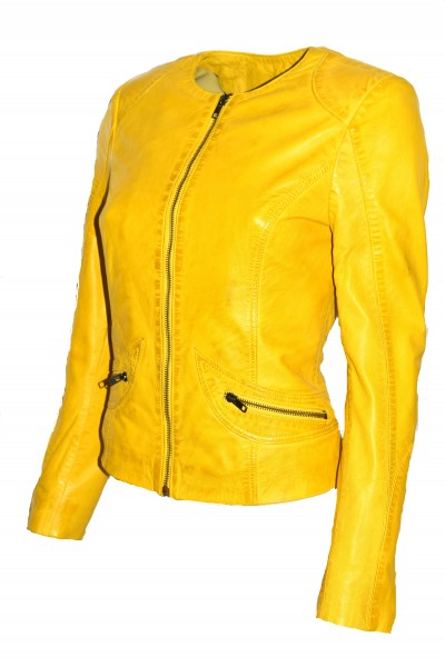 "Damen Lederjacke ""BEA"" in washed Gelb"