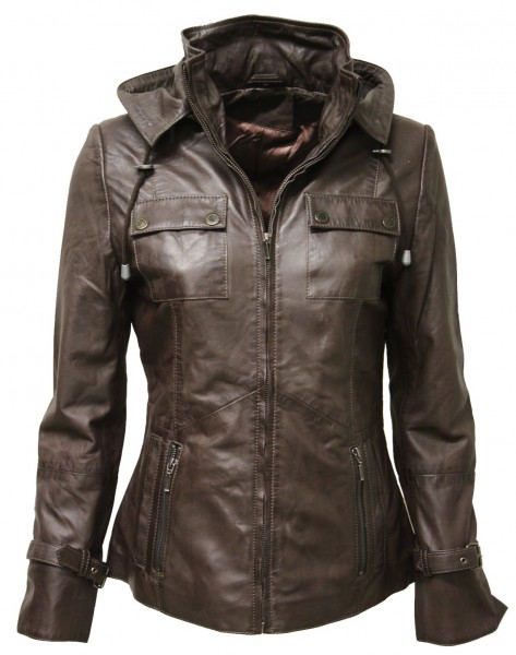 "Damen Lederjacke ""CLARA"" in washed Braun"