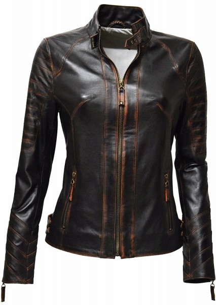 "Damen Lederjacke ""Kiara"" in alligator Schwarz"