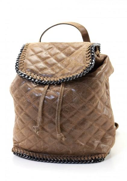 Rucksack aus gesteppten Leder mit Gunmetall Ketten