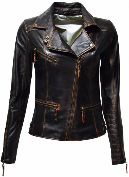 "Damen Biker Lederjacke ""SU"" in alligator Schwarz"