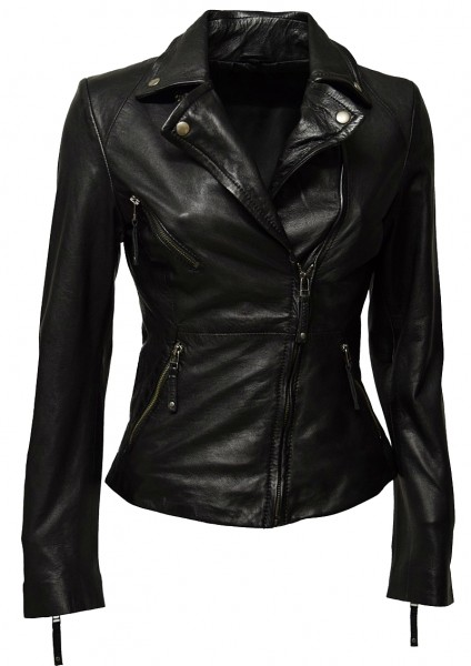 "Damen Biker Lederjacke ""Bella II"" in washed Schwarz"