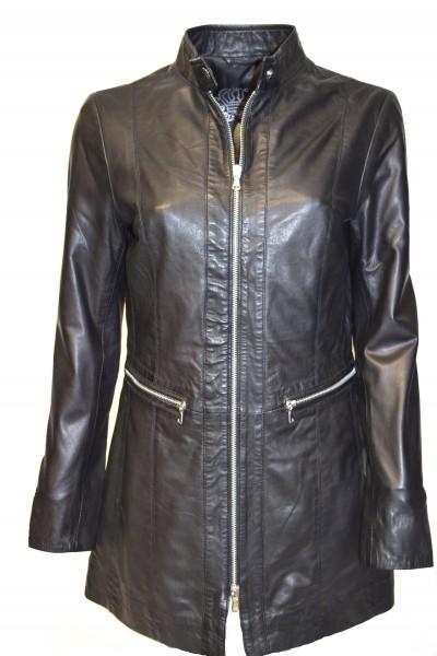 Damen Ledermantel-Lederjacke mit Reißverschluss in schwarz