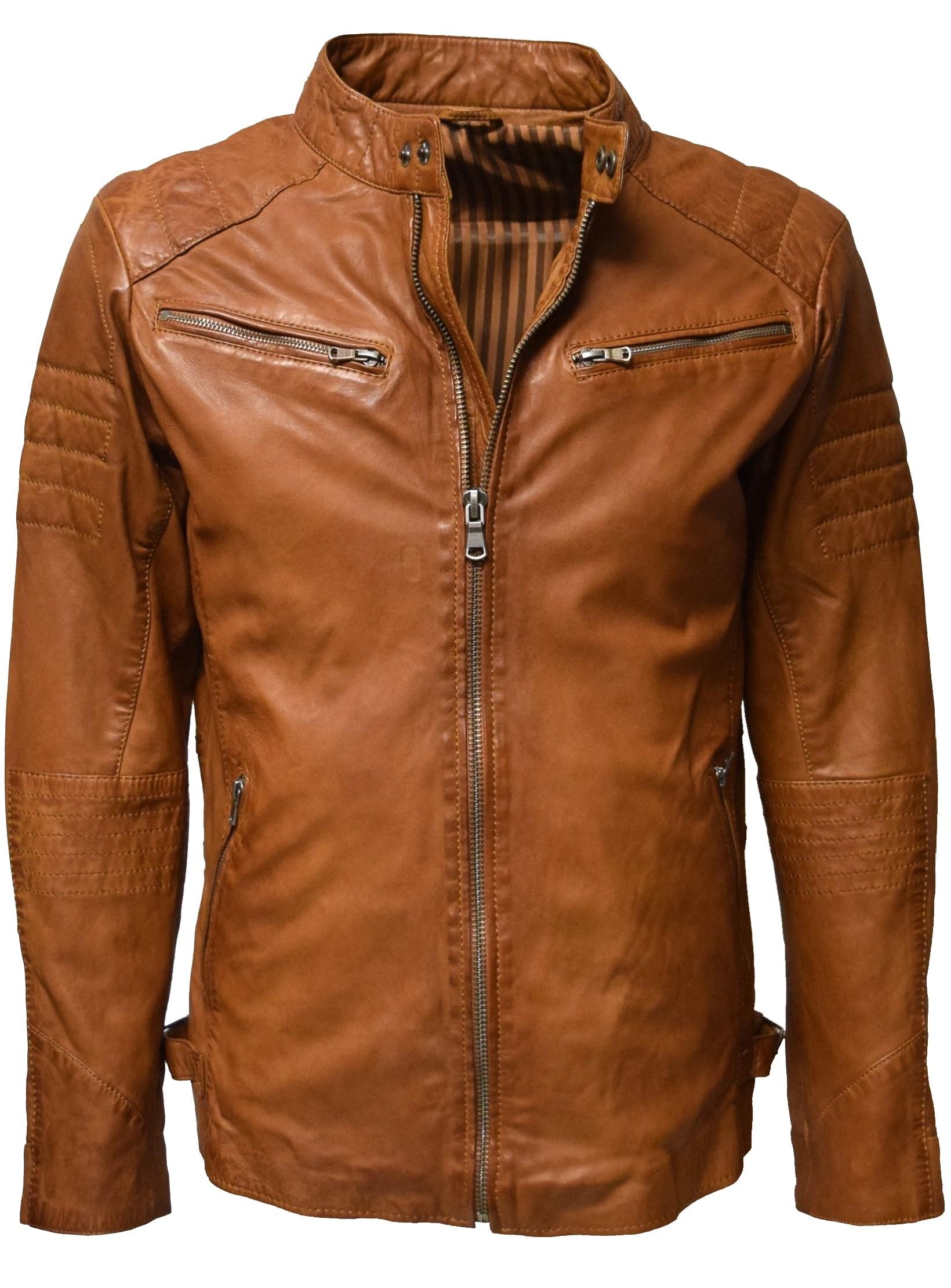 new styles 4cd37 31fa6 Herren Lederjacke Stan washed Cognac Braun
