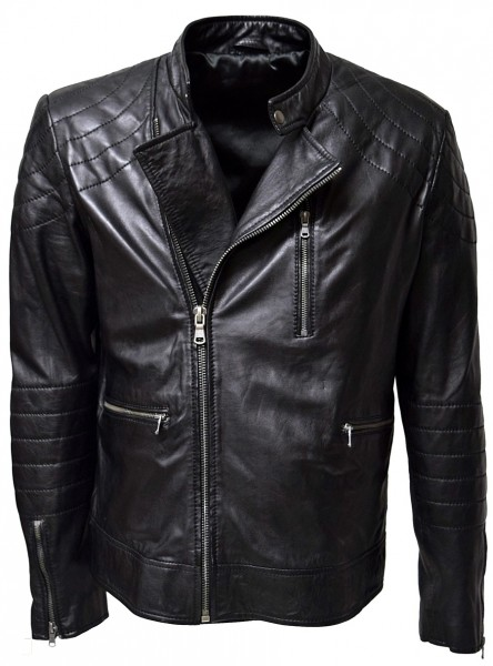 Herren Biker Lederjacke Perfecto in washed Schwarz