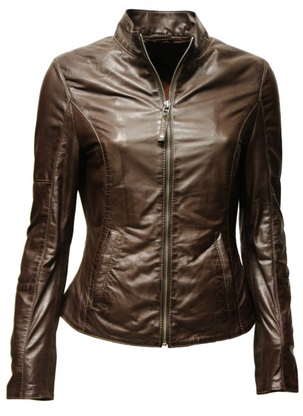 "Zimmert Damen Lederjacke ""Candice"" in washed Dunkelbraun"