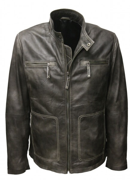 "Herren Lederjacke ""FALK"" in washed antik Schwarz"