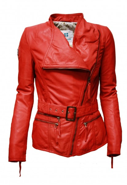 Damen Lederjacke Scarlet in washed Rot