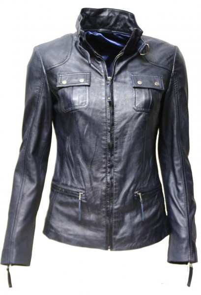 "Damen Lederjacke ""SAMANTHA"" in washed Dark Blue"