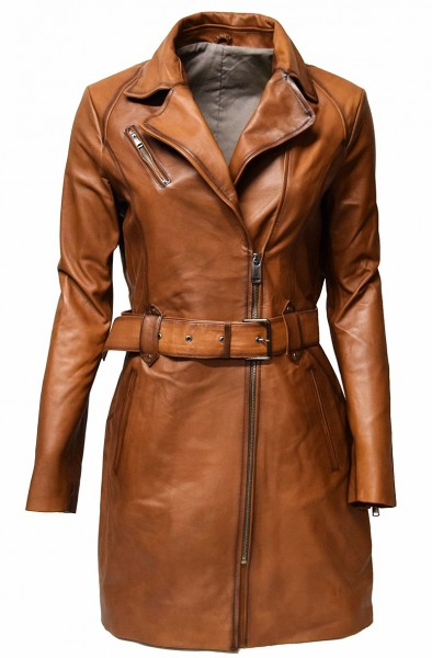 "Damen Biker Ledermantel ""UNA"" in fine Braun"
