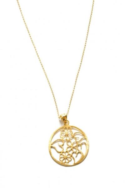 Halskette aus 925er Silber, 22k vergoldet mit einem Blumen- und Herzen Laser- Cut Anhänger