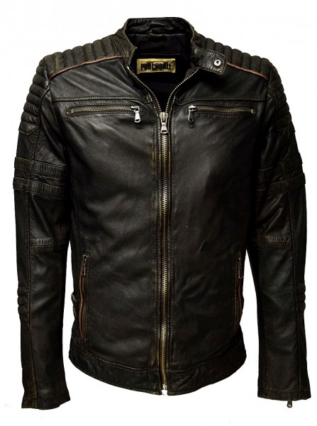 "Punchball Herren Lederjacke ""Flex"" gesteppt in washed Charcoal"