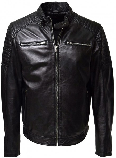 Herren Lederjacke Gunn in washed Schwarz