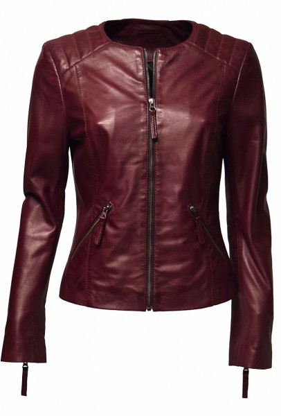 "Damen Lederjacke ""Mia"" in washed Beere"