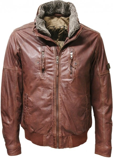 "Trapper Herren Lederjacke ""Conway"" in washed Braun"